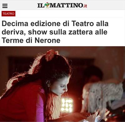 NEACO - STAMPA - Decima edizione di Teatro alla deriva, show sulla zattera alle Terme di Nerone