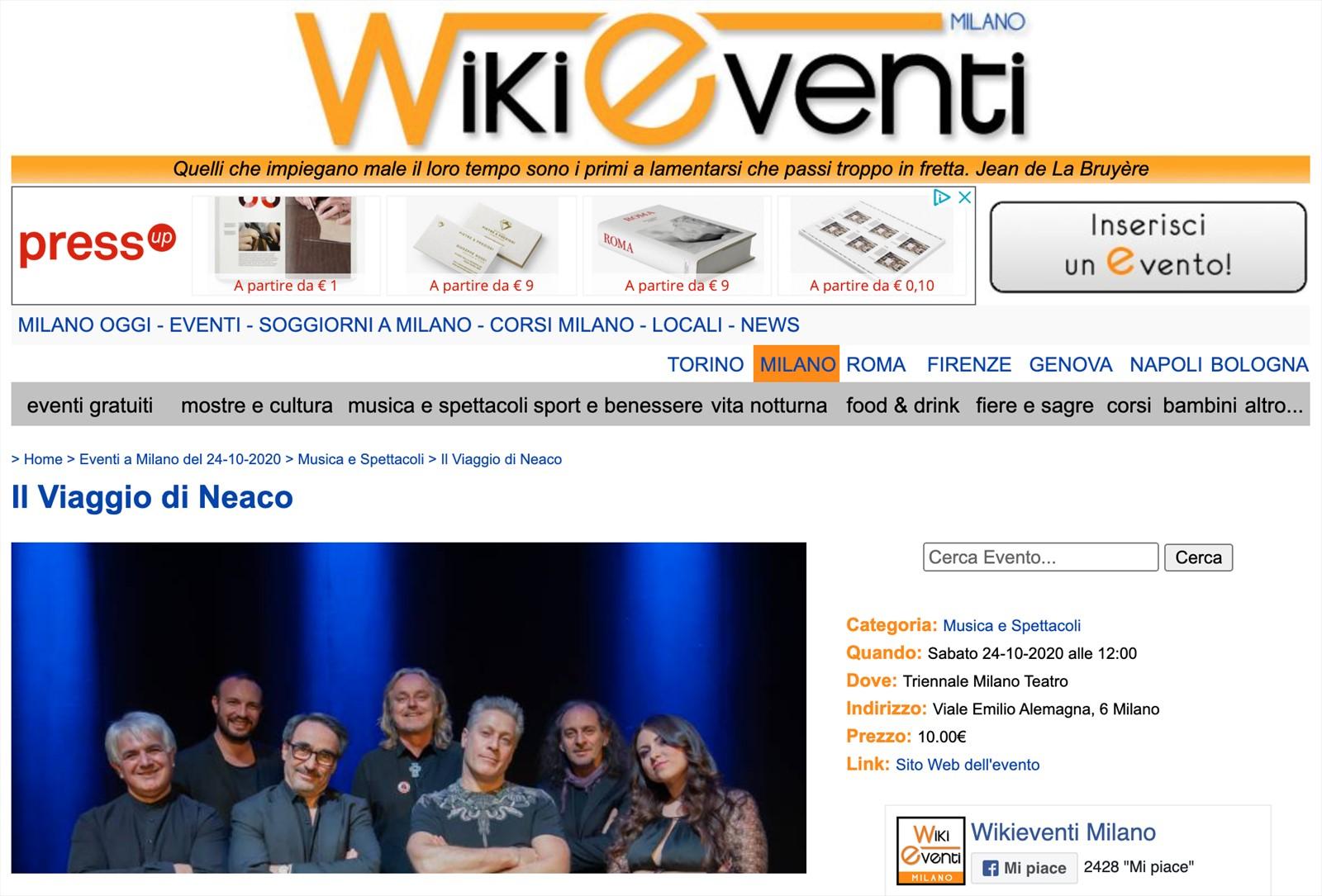Il Viaggio di NeaCo' su Wikieventi Milano