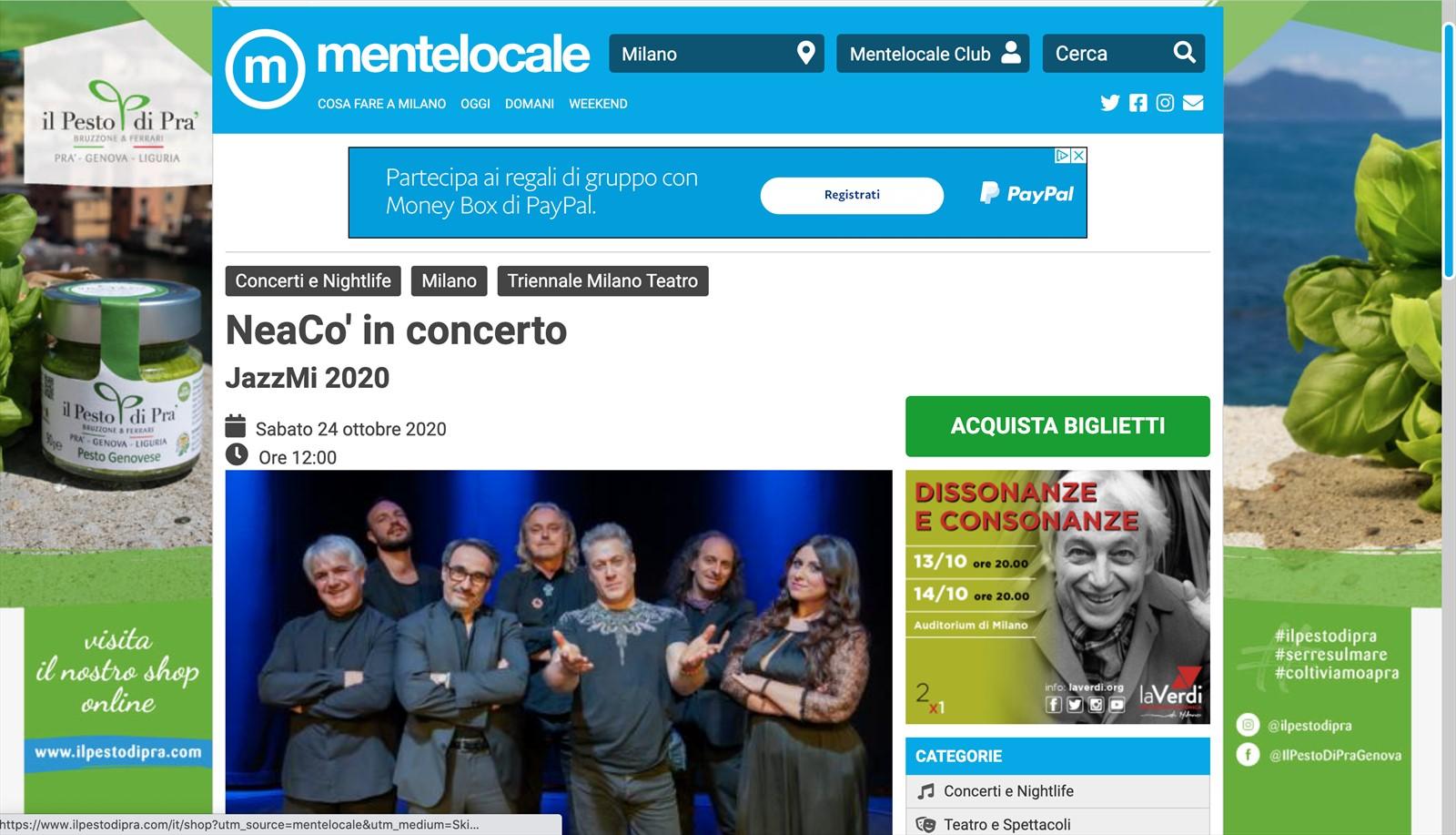 NeaCo' in concerto, ora anche su Mentelocale