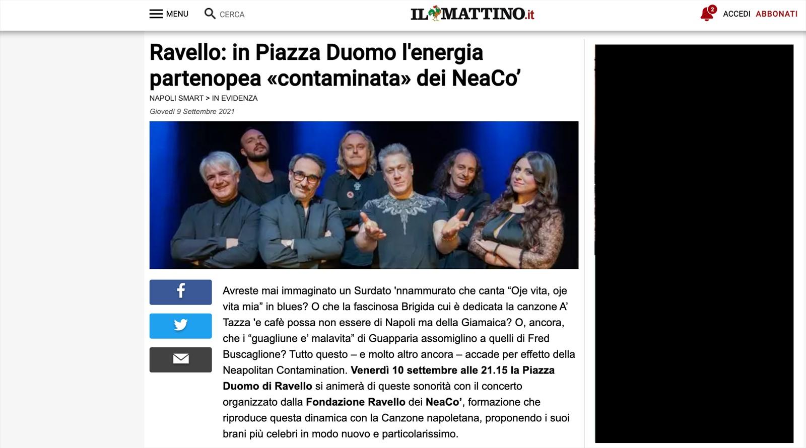 Ravello: in Piazza Duomo l'energia partenopea contaminata dei NeaCo'